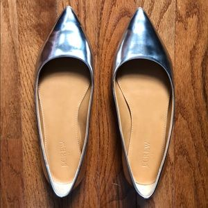 J. Crew Silver Patent Leather Pointy Toe Flats